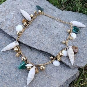 Vintage Loaded Sea Shore Jade Shell Charm Necklace